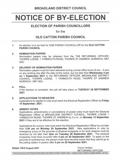 Notice of By-Election - 28 September 2021