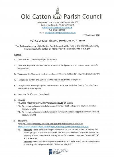 Ordinary Meeting of Old Catton Parish Council 13th September 2021