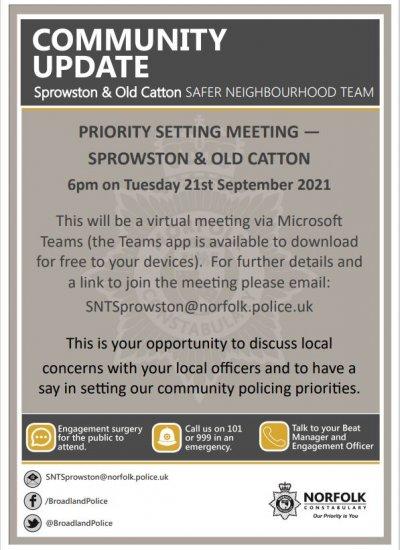 Safer Neighbourhood Action Panel - Virtual Meeting 21st September 2021